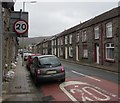 SS9695 : 20mph speed limit on the B4223 Maindy Road, Ton Pentre  by Jaggery