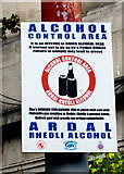 SS6593 : Alcohol Control Area notice near Swansea railway station by Jaggery