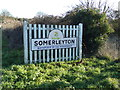 TM4897 : Somerleyton Village Name sign by Adrian Cable