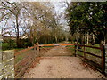 SO2316 : Wooden gate across the entrance drive to Maes-yr-afon, Glangrwyney, Powys  by Jaggery