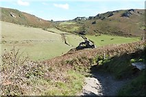 SX6937 : The SW coast path at its descent to the beach at Soar Mill Cove, South Devon by Derek Voller