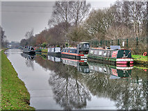 SJ7993 : Narrowboat Moorings near Stretford by David Dixon