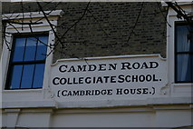 TQ3085 : Inscription on former Camden Road Collegiate School by Christopher Hilton