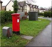 ST1586 : Queen Elizabeth II pillarbox and Royal Mail drop box, St Martin's Road, Caerphilly by Jaggery