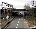 ST3188 : B4591 railway bridge scaffolding, Crindau, Newport by Jaggery