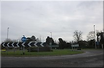 TL2071 : Roundabout on Thrapston Road, Brampton by David Howard
