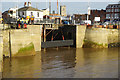TA0928 : Removing last section of cofferdam at Hull Marina by Ian S