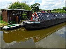 SJ8316 : Moored working boat near Church Eaton in Staffordshire by Roger  Kidd