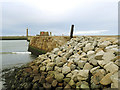 NZ9011 : Whitby East Pier - erosion protection by Stephen Craven