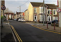 ST1586 : No Right Turn signs, Clive Street, Caerphilly by Jaggery