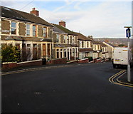ST1586 : One-way sign on a Caerphilly corner by Jaggery