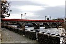 NS3421 : Railway Bridge with Road Bridge behind - Ayr by Ian Rainey