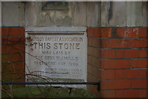 TQ2889 : Foundation stone, Muswell Hill Baptist Church by Christopher Hilton