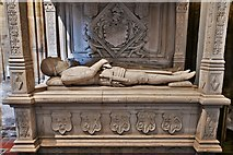 ST6316 : Sherborne Abbey: Memorial to Sir John Horsey and his son (ca 1565) 1 by Michael Garlick