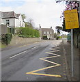 SS7598 : Zigzag markings on the A4230 Main Road, Cadoxton, Neath by Jaggery