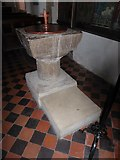 TQ7924 : St James the Great, Ewhurst Green: font by Basher Eyre