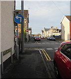 ST1586 : Mandatory left turn sign, Stockland Street, Caerphilly by Jaggery