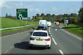 NX9074 : Eastbound A75 approaching Drummore Roundabout by David Dixon
