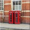 SK5904 : K6 telephone kiosks outside Leicester Station by Alan Murray-Rust