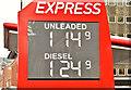 J3373 : Fuel prices sign, Belfast (14 February 2019) by Albert Bridge