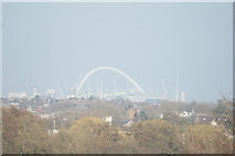 TQ1985 : View of Wembley Stadium from the Osterley Lane bridge over the M4 by Robert Lamb