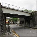 SS7597 : West side of Bridge Street railway bridge, Neath by Jaggery