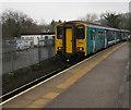 ST0894 : Bridgend train leaves Abercynon station by Jaggery
