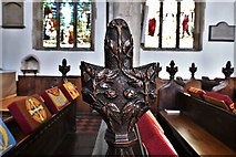 TL8866 : Great Barton: Holy Innocents Church: Finely carved poppyhead 1 by Michael Garlick