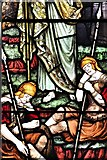TL8866 : Great Barton: Holy Innocents Church: Stained glass window (detail) by Michael Garlick