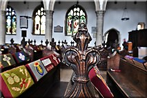 TL8866 : Great Barton: Holy Innocents Church: Finely carved poppyhead 15 by Michael Garlick
