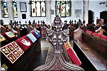 TL8866 : Great Barton: Holy Innocents Church: Finely carved poppyhead 16 by Michael Garlick