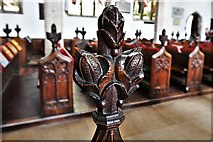 TL8866 : Great Barton: Holy Innocents Church: Finely carved poppyhead 23 by Michael Garlick
