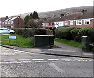 ST2896 : Dark green cabinets on a suburban corner in Cwmbran by Jaggery