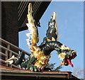 TQ1876 : Hand-painted carved wood dragon, Kew Gardens pagoda by David Hawgood