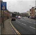 ST0789 : Low bridge sign alongside Broadway, Pontypridd by Jaggery