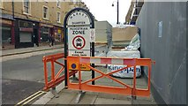 SE0925 : Footway on Market Street, Halifax  blocked with building materials by Phil Champion
