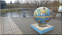 TQ1977 : Globe and Water Feature at the National Archives, Kew by Christine Matthews