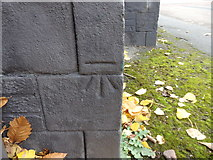 SE1836 : OS Cut Benchmark on the Oddfellows Arms, Harrogate Road by Stephen Armstrong