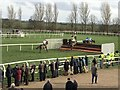 TF9228 : Jumping the first fence - Fakenham Racecourse, Norfolk by Richard Humphrey