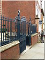 SK5739 : Railings and gate to forecourt at Willoughby House, Low Pavement, Nottingham – 1 by Alan Murray-Rust