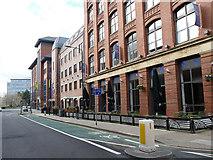 SE2933 : Cycle contraflow, St Paul's Street, Leeds  by Stephen Craven