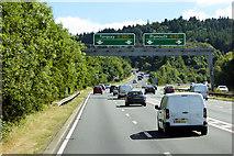 SX9184 : Overhead Sign Gantry on the Devon Expressway (A38) near Kennford by David Dixon
