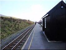 SH5752 : Loco approaching Rhyd-Ddu station on the Welsh Highland Railway by Eirian Evans