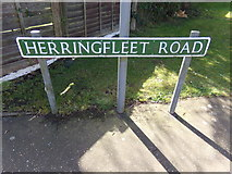 TM4599 : Herringfleet Road sign by Adrian Cable