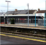 ST1586 : Welsh/English name sign on Caerphilly railway station platform 2 by Jaggery