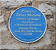 NO5603 : Blue plaque commemorating Princess Titaua Marama by Richard Sutcliffe