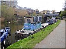 TQ3681 : Floating café on Regents Canal by Robin Webster