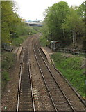 ST1599 : North through Gilfach Fargoed railway station by Jaggery