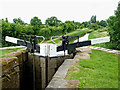 SO9163 : Tail gates Hanbury Lock No 3, Worcestershire by Roger  Kidd
