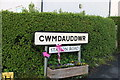 SN9667 : Village sign for Cwmdauddwr by David Howard
